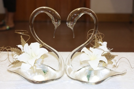 "And a close up: this is what I mean by ""beautiful"" decorations! These will be used at the wedding too!"